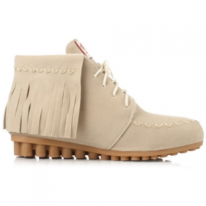 Lace Up Fringe Ankle Boots - OFF WHITE 39