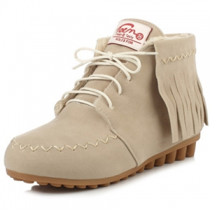 Lace Up Fringe Ankle Boots - Off-white - 38