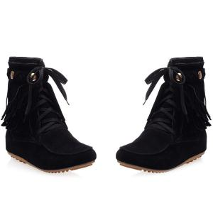 Suede Lace Up Fringe Ankle Boots -