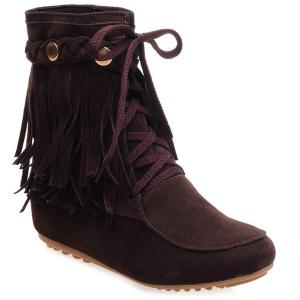 Suede Lace Up Fringe Ankle Boots - Brown - 39