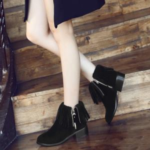 Point Toe Fringe Ankle Boots -