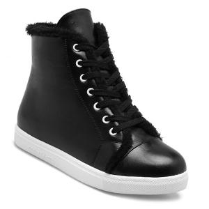Faux Fur Trim Sneaker Boots - Black - 37