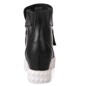 PU Leather Zip Ankle Boots -
