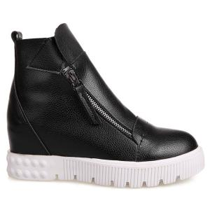 PU Leather Zip Ankle Boots - BLACK 39