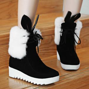 Rabbit Ear Lace Up Faux Fur Ankle Boots -