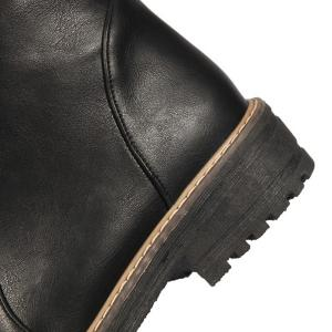 Vintage Faux Leather Ankle Boots - BLACK 39