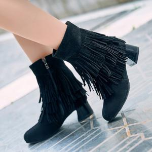 Side Zipper Fringe Ankle Boots -
