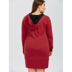 Full Sleeve Plus Size Hoodie Mini Dress - RED 5XL