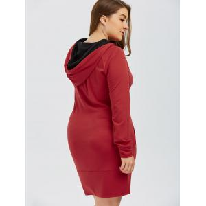 Full Sleeve Plus Size Hoodie Mini Dress - RED XL