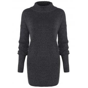 Long Sleeve Mock Neck Pullover Sweater - Deep Gray - One Size