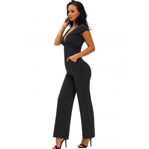 Skinny Plunging Neckline Backless Jumpsuit -