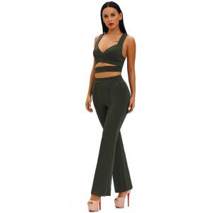 Hollow Out Crop Top With High Waist Wide Leg Pants