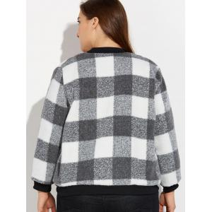 Snap Button Plus Size Plaid Woolen Jacket -