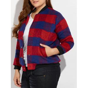 Snap Button Plus Size Plaid Woolen Jacket - Red - 2xl