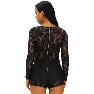 Zipper Lace Up See-Through Romper -