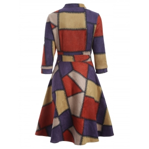 Checked Print Fit and Flare Work Dress - RED XL