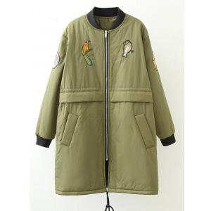 Plus Size Bird Letter Patched Bomber Coat - Army Green - Xl