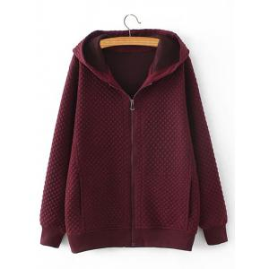 Plus Size Diamond Pattern Padded Hooded Coat - Wine Red - 2xl