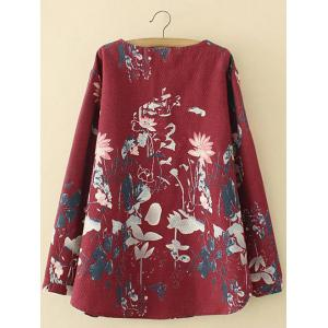 Plus Size Lotus Painting Chinese Button Linen Blouse - DEEP RED 3XL