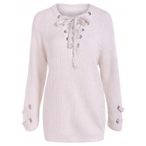 Lace-Up Loose Sweater