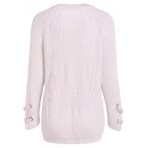White One Size Lace-up Loose Sweater | RoseGal.com