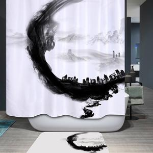 Artistic Ink Painting Water Resistant Mildewproof Shower Curtain - White And Black - W71 Inch * L79 Inch