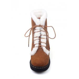 Tie Up Faux Fur Stitching Short Boots -