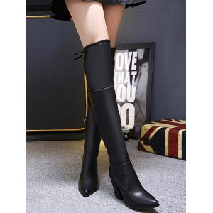 Pointed Toe Tie Up Zipper Thigh Boots -