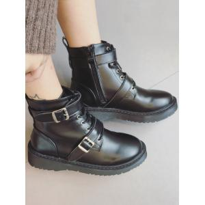 Tie Up Double Buckle Platform Ankle Boots -