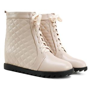 Quilted Argyle Pattern Tie Up Ankle Boots - Apricot - 39