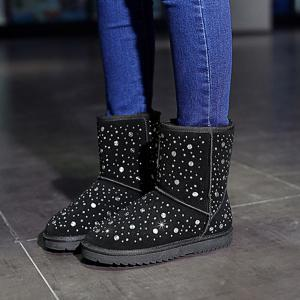 Bottes Strass Rivets Suede neige -