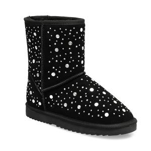 Rhinestones Rivets Suede Snow Boots