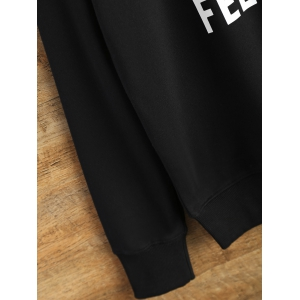 Crew Neck Graphic Funny Sweatshirt - BLACK L