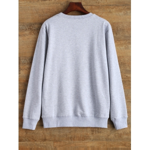 Streetwear Crew Neck Sweatshirt Graphic - GRAY L