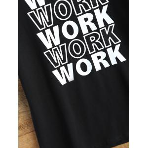 Streetwear Jewel Neck Work Graphic T Shirt - BLACK L