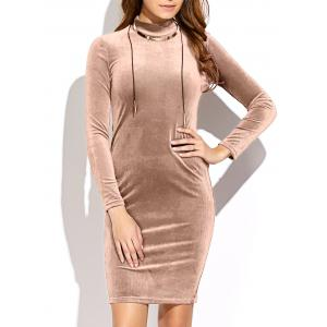 Long Sleeve High Neck Mini Velvet Dress - Yellowish Pink - One Size