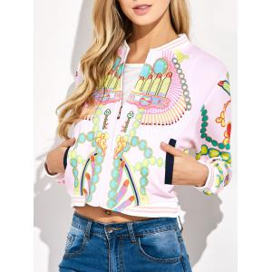Lipstick 3D Print Cropped Bomber Jacket - Light Pink - L