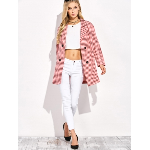 Double Breasted Lapel Plaid Coat -