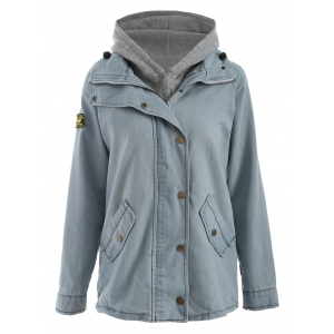Hooded Waistcoat and Denim Jacket Twinset - Light Blue - L