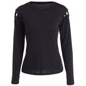Lace Up Long Sleeve T-Shirt