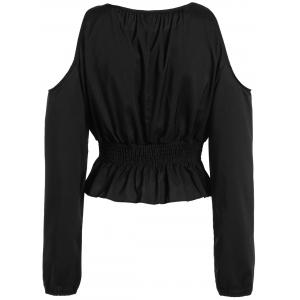 Cold Shoulder Elastic Waist Blouse -