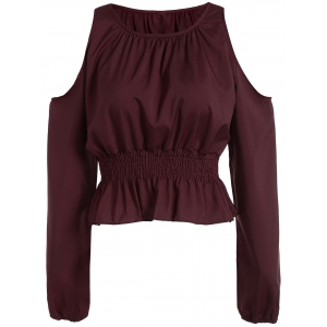 Cold Shoulder Elastic Waist Blouse - Wine Red - S