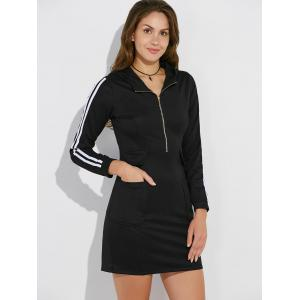 Hooded Half Zip Casual Dress with Pockets - BLACK 2XL