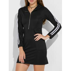 Hooded Half Zip Casual Dress with Pockets - Black - L