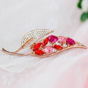 Strass Feuille Faux Broche Gem - Rouge
