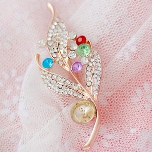 Broche strass Feuille - Or