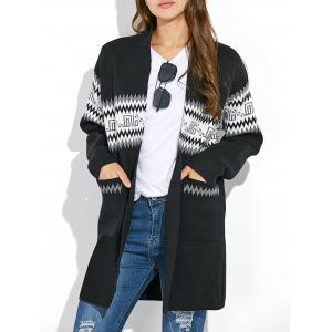 Graphic Long Sleeve Open Front Kimono Cardigan - Black - One Size