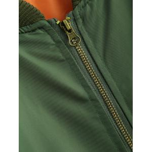 Zipper Embellished Bomber Jacket - ARMY GREEN XL