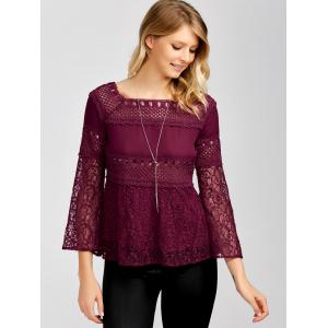 Openwork Square Collar Flare Sleeve Lace Blouse - WINE RED XL