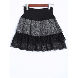Vintage Bowknot Lace Insert Tiered Mini Skirt -